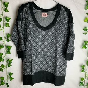 JUICY COUTURE 3/4 Sleeves Argyle Sweater Top